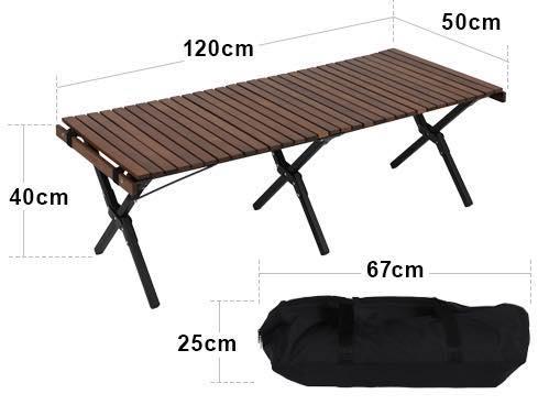 クイックキャンプ_ウッドロールローテーブル