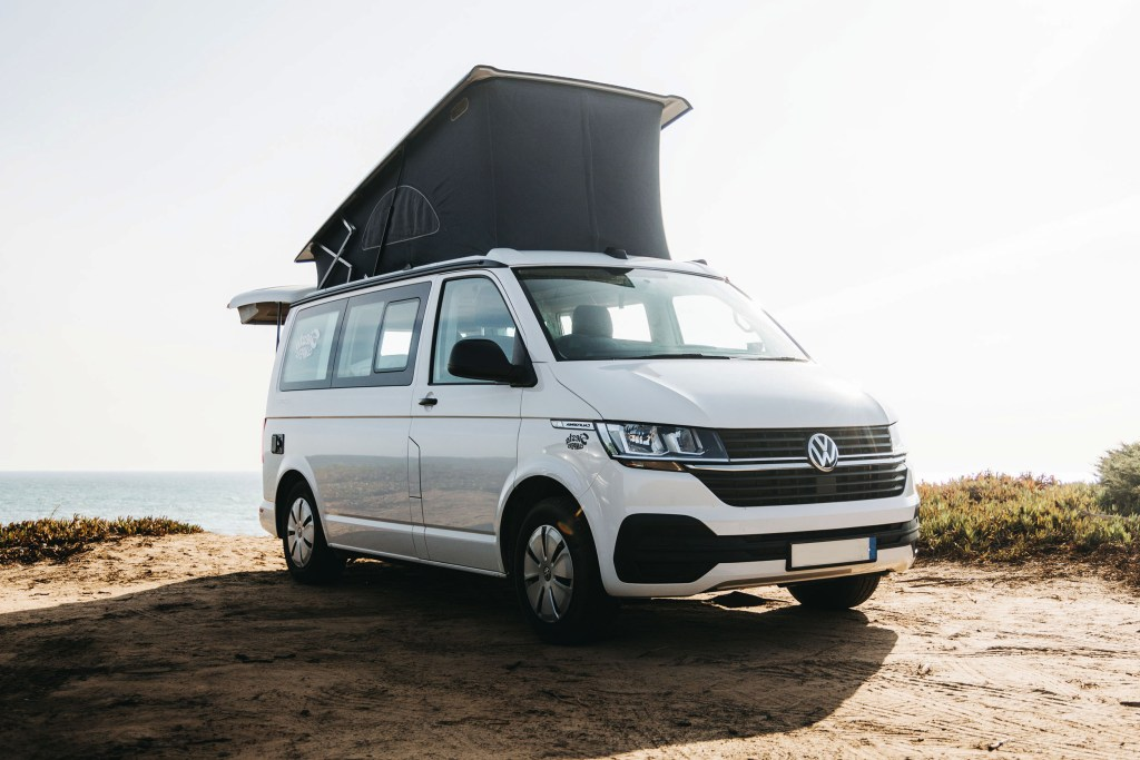 VW T6.1 with roof popped up.