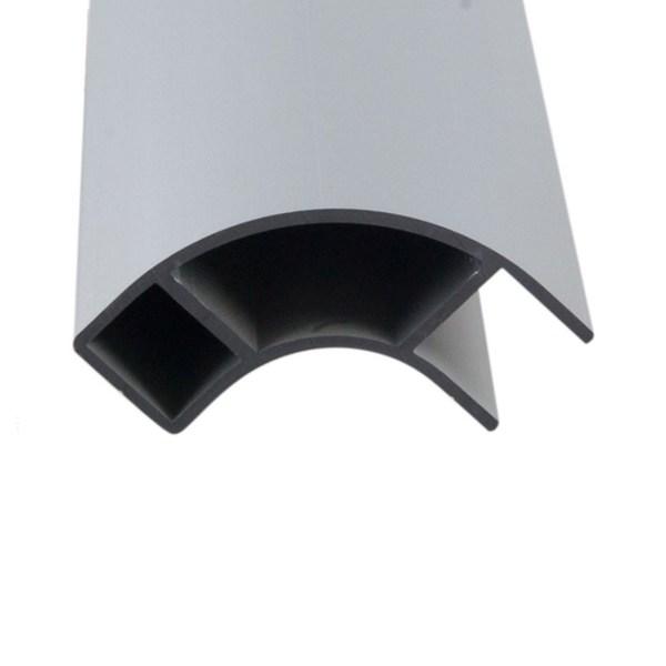 Aluminum furniture trim open on one side.