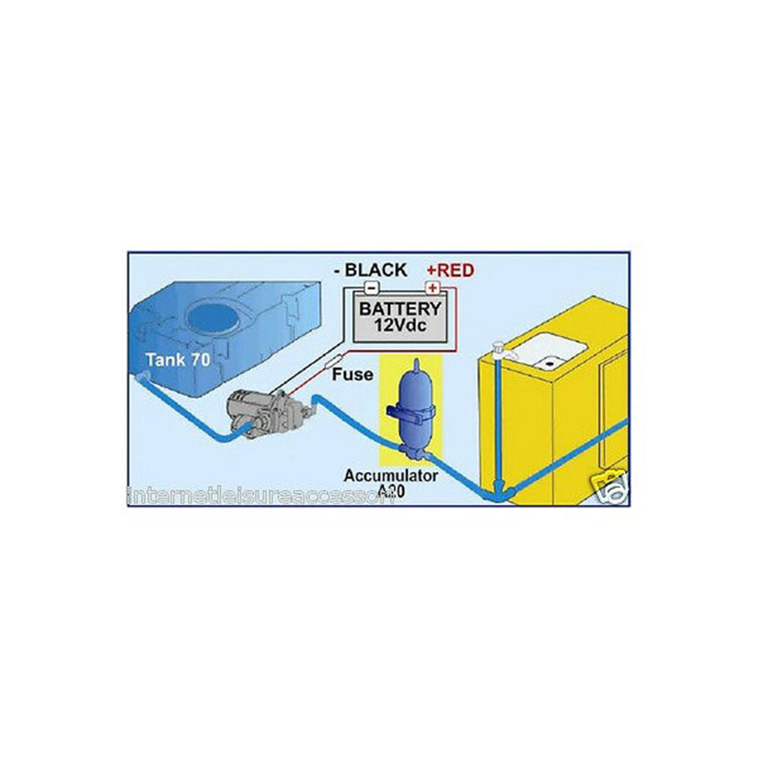 Water expansion tank installation diagram for camper conversion.