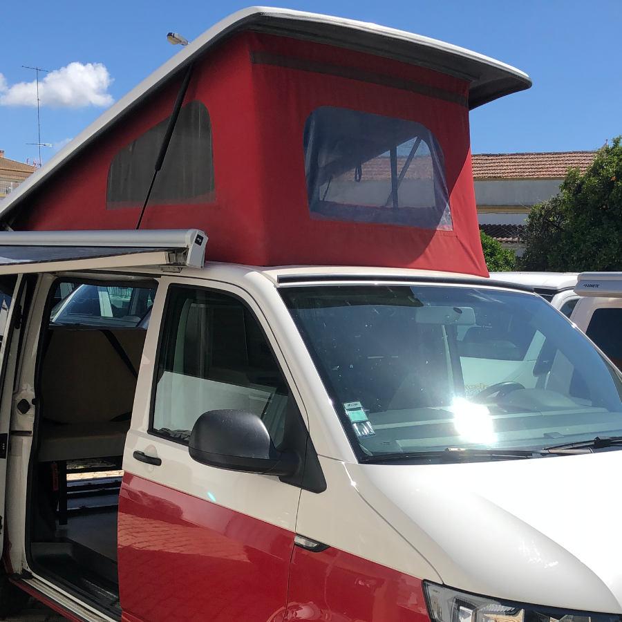 VW campervan pop up roof front angle.