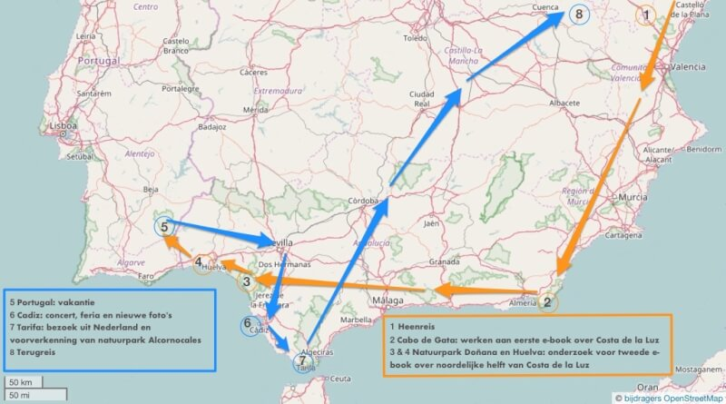 Onze geplande route met pleisterplaatsen door zuid-Spanje & Portugal