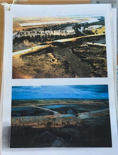 Foto's uit 1998 waarop de doorbraak van de dam zichtbaar is. Het dal van de Guadiamar raakte daarop bedekt met een dikke, giftige laag.