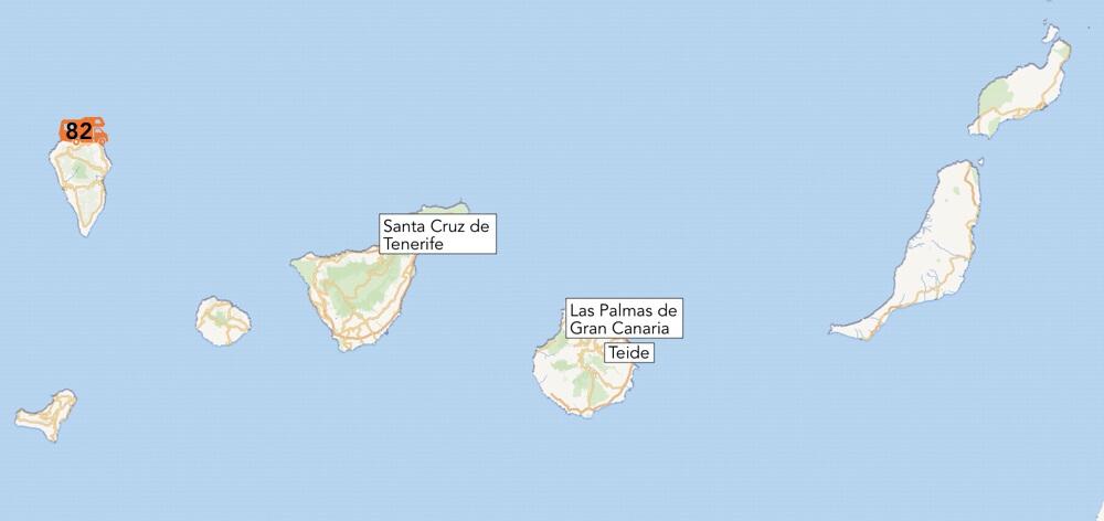 De gerealiseerde camperplek op de Canarische eilanden.