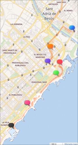 Deel 1 van onze wandeling. De gekleurde citaatwolkjes corresponderen met de tekens in de tekst. (wandeling Barcelona).