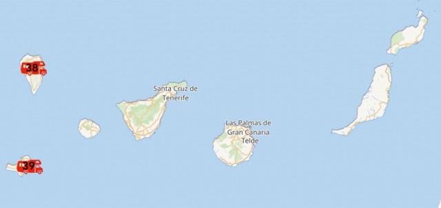Kaart met de (geplande) nieuwe camplekken op de Canarische Eilanden.