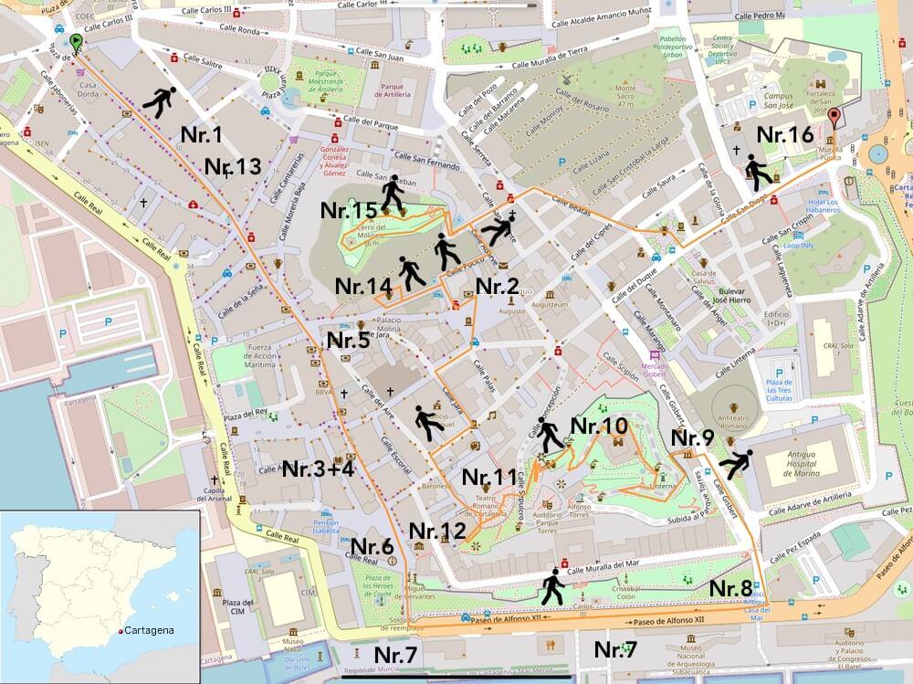 Kaart Cartagena met bezienswaardigheden (Klik of tik voor grotere versie). (Basis OpenStreetMaps).