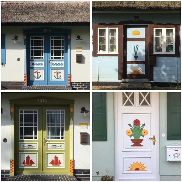 Een paar voorbeeldjes van de bewerkte en beschilderde voordeuren.