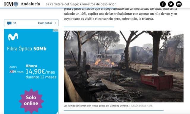 De camping na de brand. Een rokende puinhoop. Bron: website El Mundo