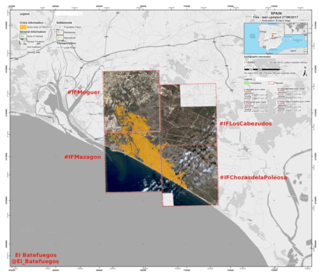 Een kaart die de omvang van de brand laat zien. Het park natural van Doñana is zwaar getroffen. Bron: website El Batefuegos