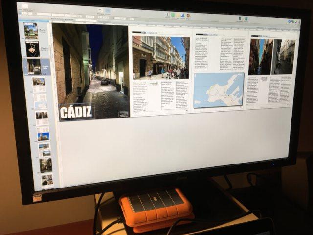 Ons e-book over de Costa de la Luz is bijna af. Je ziet hier het ruwe ontwerp in ons opmaakprogramma.