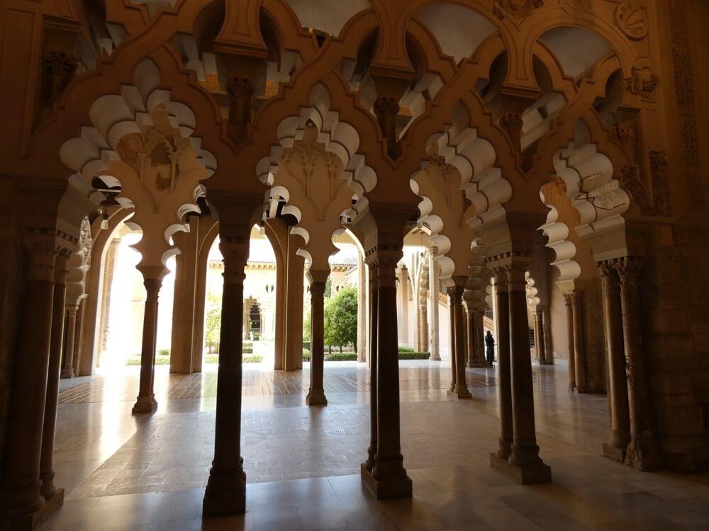 Het Arabische deel van het paleis-fort Aljafería (Route Cuenca - Zaragoza).