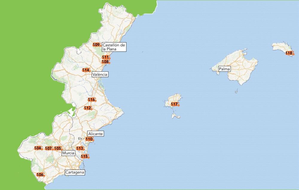De camperplekken van Valencia en Murcia.