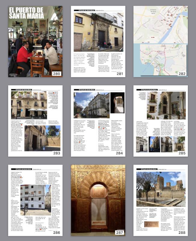 Een kleine collage van inhoudsopgave in IBooks van Apple. Hier een paar pagina's uit het hoofdstuk over El Puerto de Santa María.
