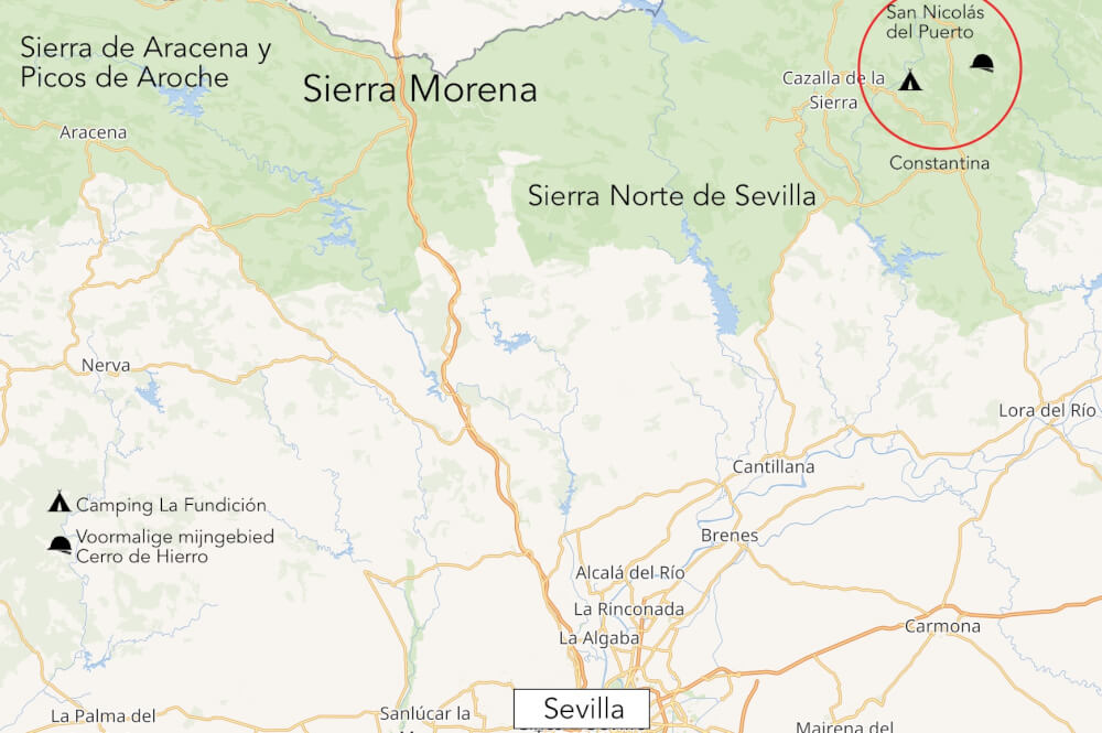 Kaart van Sierra Norte de Sevilla (Spaanse binnenland).