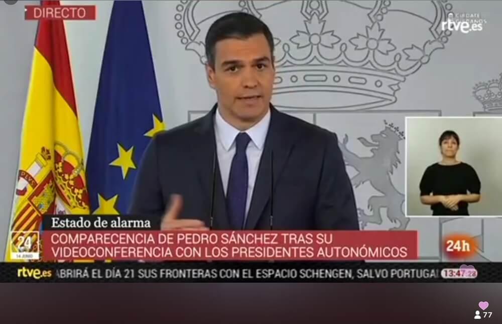 De Spaanse premier Sánchez maakt bekend dat de grenzen opengaan op 21 juni
