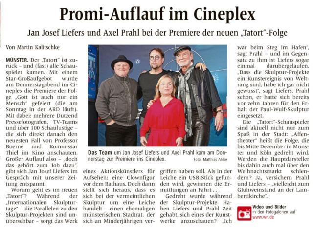 De plaatselijke krant is er uiteraard ook bij en doet verslag van de Tatort-beroemdheden in Münster.