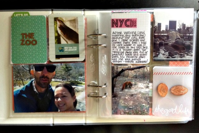 Central Park Zoo Scrapbook Layout Using Divided Page Protectors - Campfire Chic