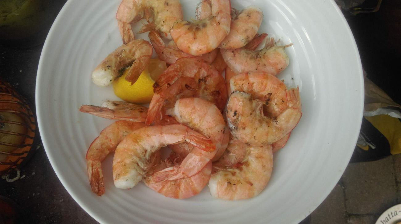 Grilled Prawns with Garlic Olive Oil