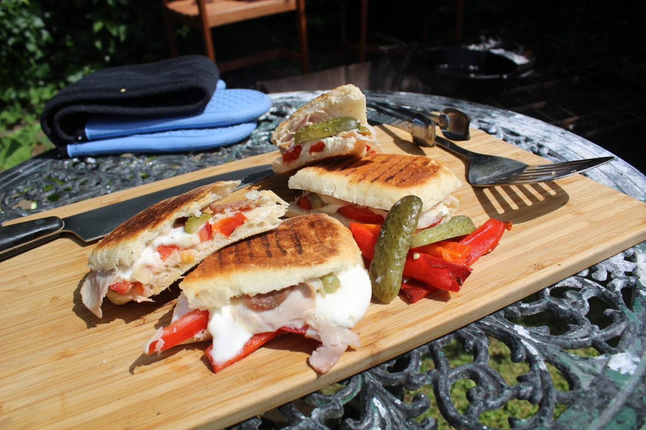 Genius Campfire Paninis with Fire Roasted Red Pepper