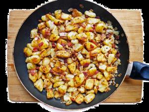 potatoes in a pan