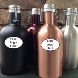 Lion- Bulk Custom Printed 64oz stainless steel Growler with flip lid