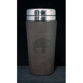 Cougar- Custom bulk, double walled stainless steel tumbler with leatherette wrap