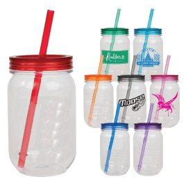 Dinosaur-Bulk Custom Printed 24oz Mason Jar Acrylic Tumbler with Straw