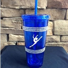 Lhasa Apso- Bulk Custom Printed Bling Straw Tumbler with Two Rhinestone Bands