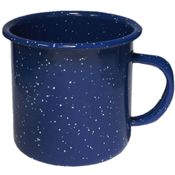 18oz. Enameled Steel Campfire Mugs, speckled, vintage, western, tin cups