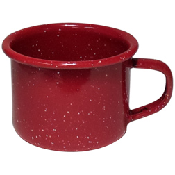 Cabin Mug-4oz Enameled Steel Campfire Mugs, speckled, vintage, western, tin cups