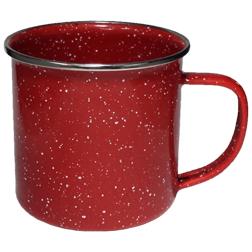 12oz. Enameled Campfire Mugs, speckled, vintage, western, steel rim cups