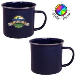 Mountain Mug- Bulk Custom Printed 16oz Enameled Steel Campfire Cup with Steel Rim Full Color Print