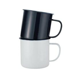 Sequoia- Bulk Custom Printed 18oz Enameled Steel Cup with Hand Painted Rim