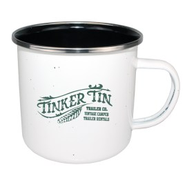 Bulk Custom Printed 15oz Enameled Steel Cup with Black Interior