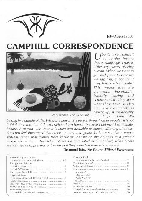 Camphill Correspondence July/August 2000