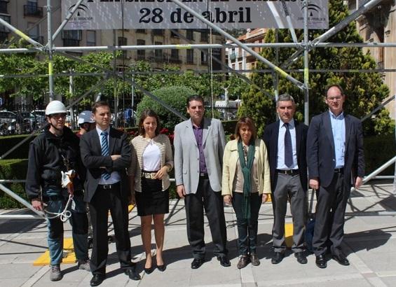 Purificación Gálvez y Ana Cobo, junto a Ángel Vera, Miguel Ángel García y Julio Martínez, en el acto de presentación.