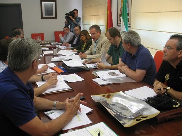 Purificación Gálvez, Sebastián Quirós y David Bueno han presentado el Plan INFOCA para la provincia de Jaén.