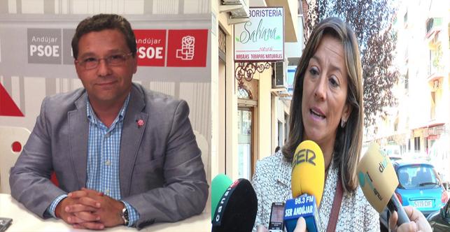 Francisco Huertas y Encarna Camacho suscribieron ayer el pacto de gobierno en Andújar.