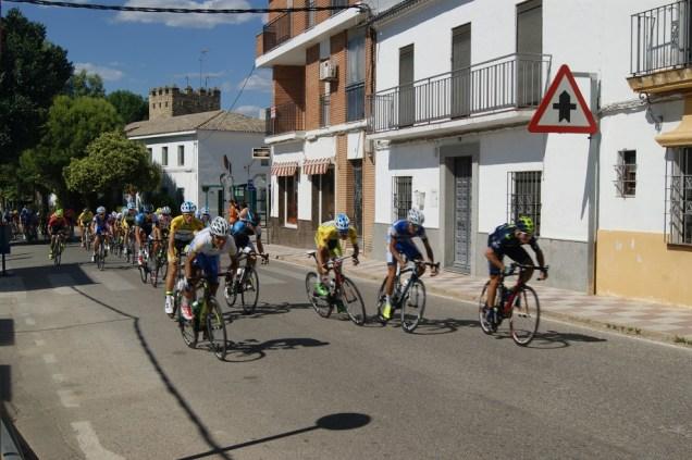 El pelotón de ciclistas a su paso por el municipio de Lopera.