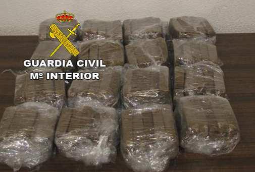 """Paquetes de """"Hachis"""" incautados al arrestado en Bailén. Foto: Guardia Civil."""