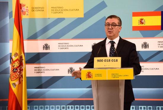 El secretario de Estado de Educación, Formación Profesional y Universidades, Marcial Marín, en rueda de prensa.