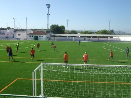 Un campo de fútbol en la Comarca de La Campiña.