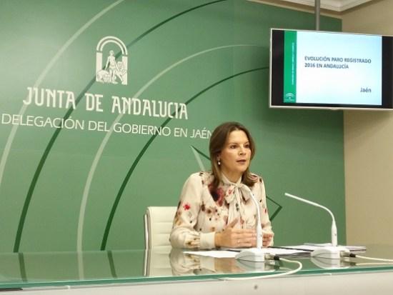 La delegada del Gobierno Andaluz, Ana Cobo, en rueda de prensa.