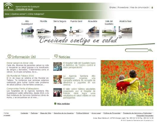 Página de inicio de esta web sobre la Agencia Sanitaria Alto Guadalquivir.