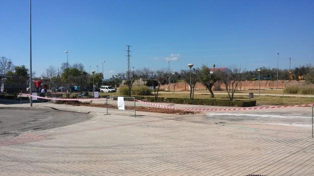 Actuales obras en la entrada del Hospital de Andújar.