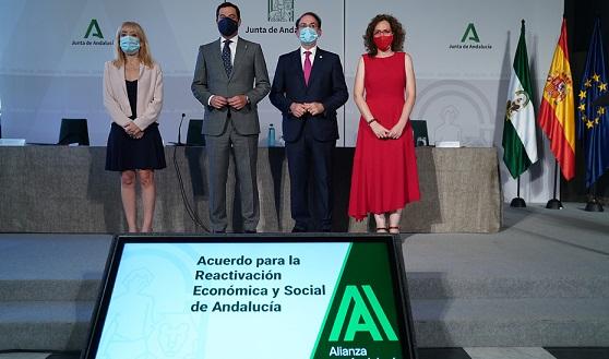 Moreno sella con los agentes sociales un acuerdo histórico para la reactivación económica y social de Andalucía ante la crisis del Covid-19.