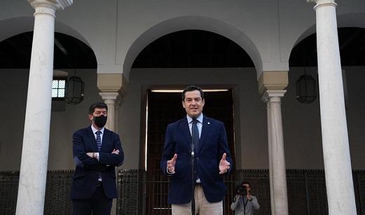 Juanma Moreno y Juan Marín trasladan que el Gobierno de Andalucía goza de buena salud y aspira a concluir la Legislatura.