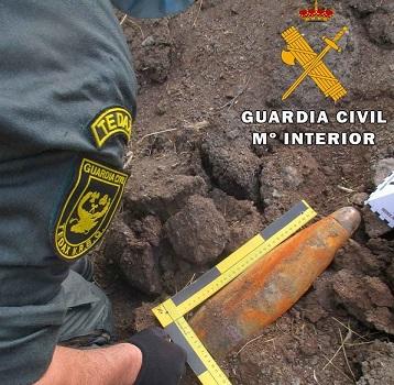 La Guardia Civil ha neutralizado un proyectil de artillería procedente de la guerra civil española.
