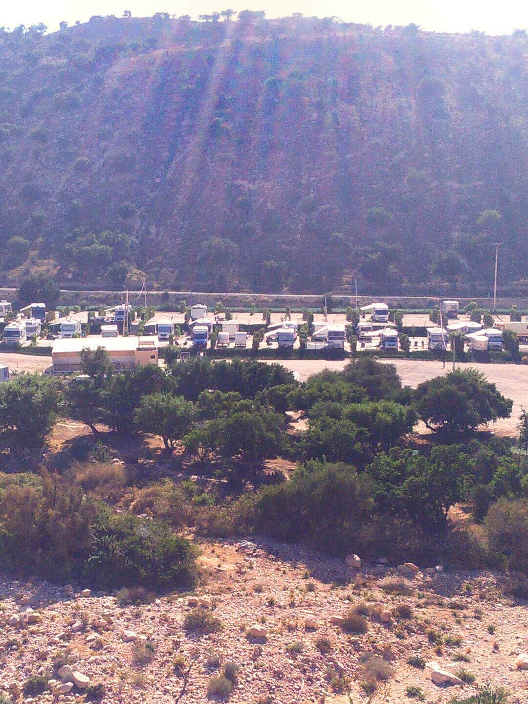 Camping Aourir – View from the opposite Mountain Slope to the Campsite in Aourir